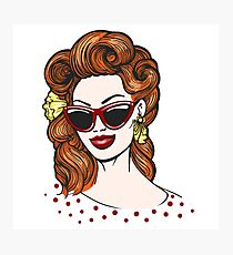 Pop art Woman in glasses with empty speech bubble Photographic Print