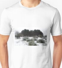 Snowy Hillside Bushes And Woodland Tuft Of Trees T-Shirt