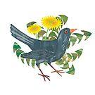 Blackbird & Dandelion by Maria Burns