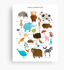 animal alphabet chart Canvas Print