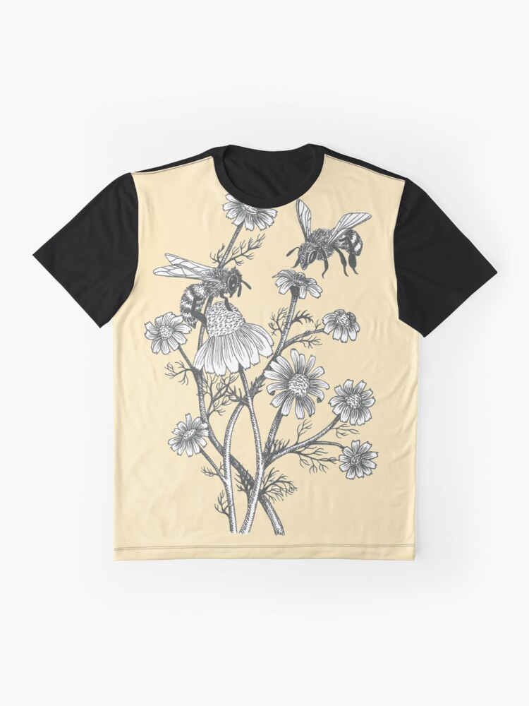 Alternate view of bees and chamomile on honey background  Graphic T-Shirt