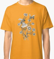 bees and chamomile on honey background  Classic T-Shirt