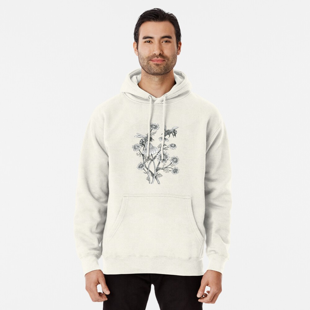bees and chamomile on honey background  Pullover Hoodie