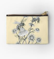 bees and chamomile on honey background  Zipper Pouch