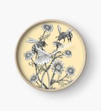 bees and chamomile on honey background  Clock