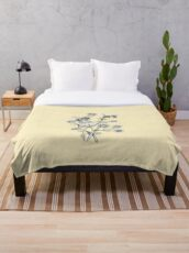 bees and chamomile on honey background  Throw Blanket