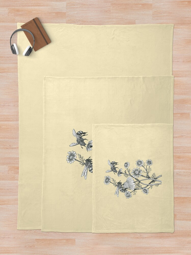 Alternate view of bees and chamomile on honey background  Throw Blanket