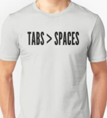 Tabs Greater Than Spaces - Programmer Flame War Design Black T-Shirt