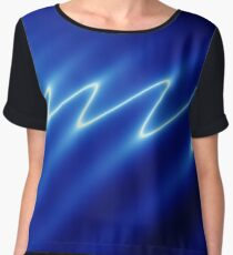 Digital image of white ripples on blue background Chiffon Top