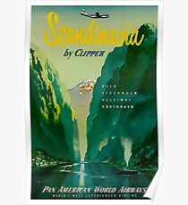 SCANDINAVIA: Vintage Pan American Airways Travel Advertising Print Poster