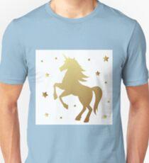 Unicorn silhouette vector illustration. Golden magic unicorn with star on white background. Fairy horse animal. Unisex T-Shirt