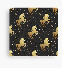 Unicorn silhouette seamless vector pattern. Golden magic unicorn with star on black background. Fairy horse pattern. Canvas Print