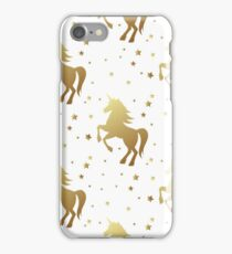 Unicorn silhouette seamless vector pattern. Golden magic unicorn with star on white background. Fairy horse pattern. iPhone Case/Skin