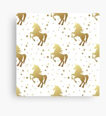 Unicorn silhouette seamless vector pattern. Golden magic unicorn with star on white background. Fairy horse pattern. Canvas Print