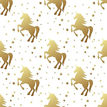 Unicorn silhouette seamless vector pattern. Golden magic unicorn with star on white background. Fairy horse pattern. by julkapulka