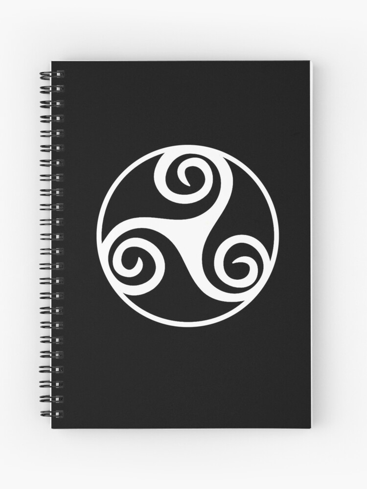 Celtic, Triskel, WHITE, Triskelion, Triskele, Tattoo, Three, 3, legs,  Neolithic, Bronze Age, Iron Age, | Spiral Notebook