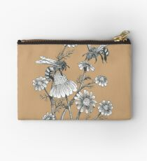 bees and chamomile on caramel background Studio Pouch