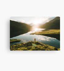Switzerland Mountain Lake Sunrise - Landscape Photography Canvas Print