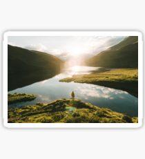 Switzerland Mountain Lake Sunrise - Landscape Photography Sticker