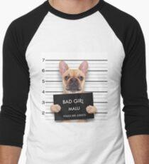 Funny Bulldog Mugshot Men's Baseball ¾ T-Shirt