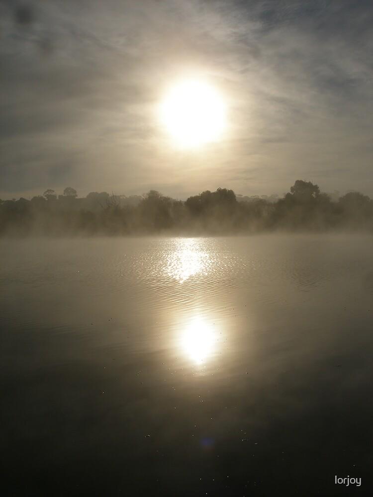 sun sunrise over water  by lorjoy