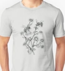 bees and chamomile on dusty pink background T-Shirt