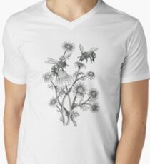 bees and chamomile on dusty pink background V-Neck T-Shirt