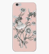 bees and chamomile on dusty pink background iPhone Case