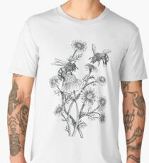 bees and chamomile on dusty pink background Men's Premium T-Shirt