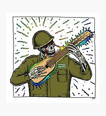 Skull playing the guitar army Chile Photographic Print