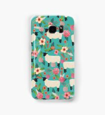 Sheep farm sanctuary florals pattern cute gifts for animal lovers Samsung Galaxy Case/Skin