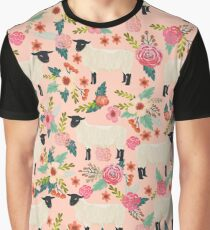 Sheep farm sanctuary florals pattern cute gifts for animal lovers Graphic T-Shirt