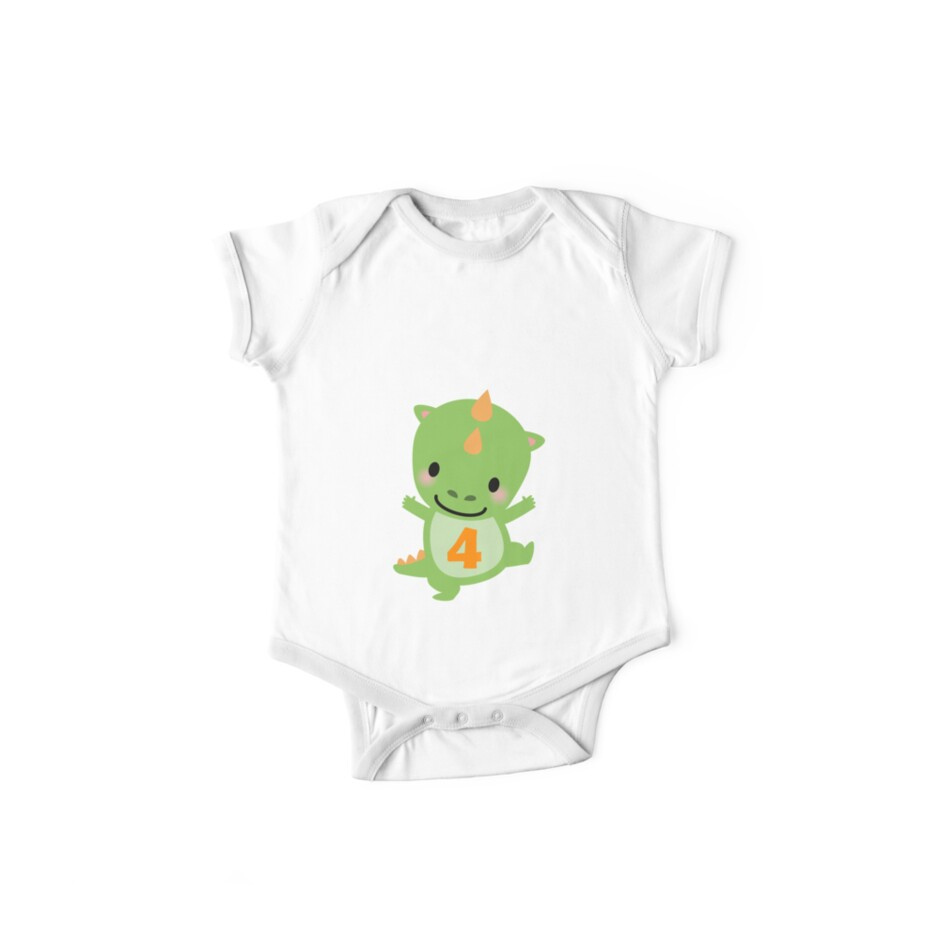 4th Dinosaur Birthday Fun Gift 4 Year Old Boys Girls Short Sleeve