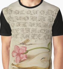 Vintage Flower Calligraphy Alphabet Graphic T-Shirt