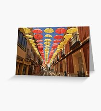 The Spanish Flag portrayed in Umbrellas Greeting Card