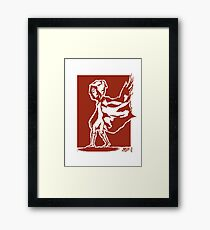 cape in wind design (red, with square background) Framed Print