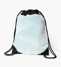 Light Blue and White Geometric Triangles Lino-Textured Print Drawstring Bag