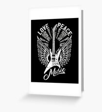FOR THE LOVE OF MUSIC A GUITAR PLAYER ROCK MUSICIANS DESIGN BLACK Greeting Card