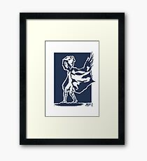 cape in wind design (blue, with square background) Framed Print
