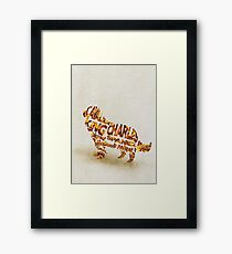 Cavalier King Charles Spaniel Typographic Watercolor Painting Framed Print