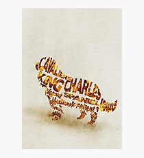 Cavalier King Charles Spaniel Typographic Watercolor Painting Photographic Print