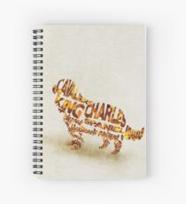 Cavalier King Charles Spaniel Typographic Watercolor Painting Spiral Notebook