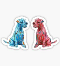 Red and Blue Polygonal Schnauzers Looking at Each Other Sticker