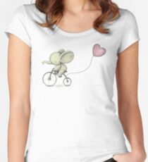 Cute Elephant riding his Bike Women's Fitted Scoop T-Shirt