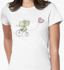 Cute Elephant riding his Bike Women's Fitted T-Shirt