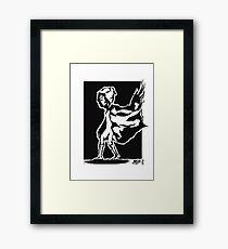cape in wind design (black) Framed Print