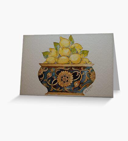 Lemons in Ornate Vintage Bowl 'Miniature Still Life' © Patricia Vannucci 2008 Greeting Card