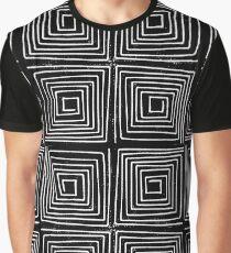 Linocut minimal scandi pattern black and white square maze printmaking art Graphic T-Shirt