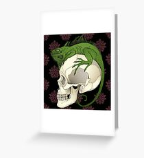 Iguana on a Skull Greeting Card