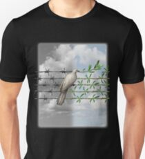 Dove With Olive Branch and Barbed Wire Unisex T-Shirt